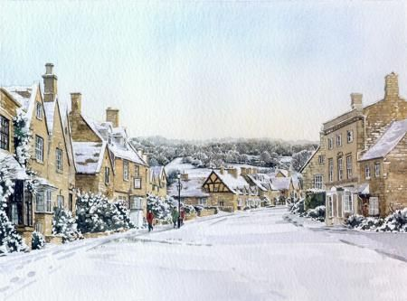 Winter Broadway by Ann March, Ann March, Highworth Artists' Society Highworth Artists' Society, SAA Professional Members' Galleries