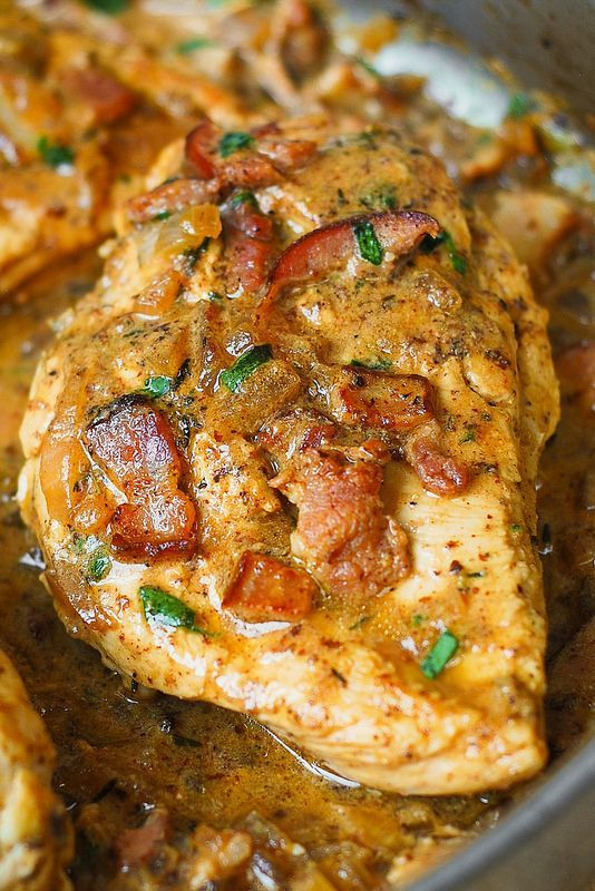 Gluten-free chicken with creamy mustard sauce, bacon chicken, bacon chicken breast
