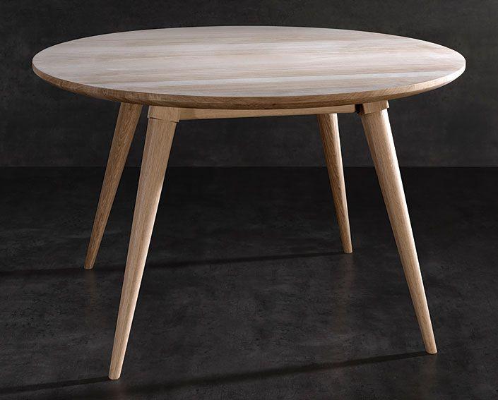 Mesa de comedor retro maria material madera de roble for Mesas de comedor redondas extensibles de madera