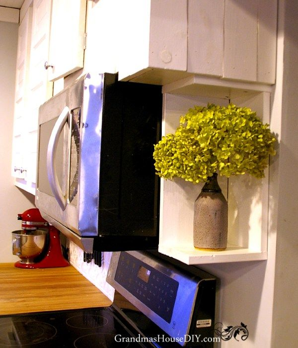 How to: build a little shelf to cover up the side of your microwave and finally finish your kitchen@GrandmasHousDIY