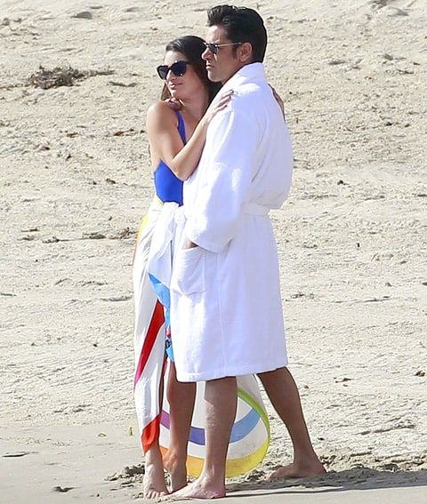 Lea Michele and John Stamos filming the season 2 finale of Scream Queens in Malibu.