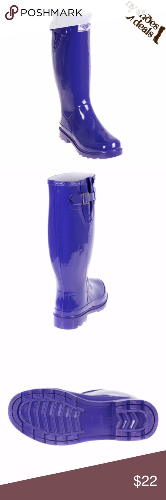 "Women's Purple Rubber Rain Boots 14"" RB-3106 Enjoy Rainy Weather in Stylish Ladies' Rain Boots! 100% Rubber, Full Cotton Lining. Whatever You Call Them - Wellies, Galoshes, Rain Boots or Sluggers, Your Feet Are Sure To Stay Dry While Exploring Puddles or Gardening! Run Half a Size Large to Accommodate a Thick Sock. Not Made For Wide Calves.   Height 11"", calf circumf. approx. 15"". Forever Young Shoes Winter & Rain Boots"