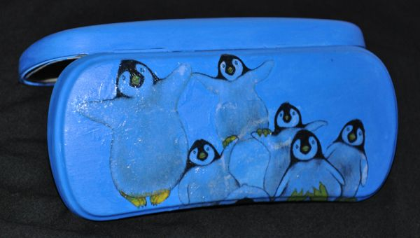 decoupage decorated glasses pouch, reused pouch, penguins decoupage