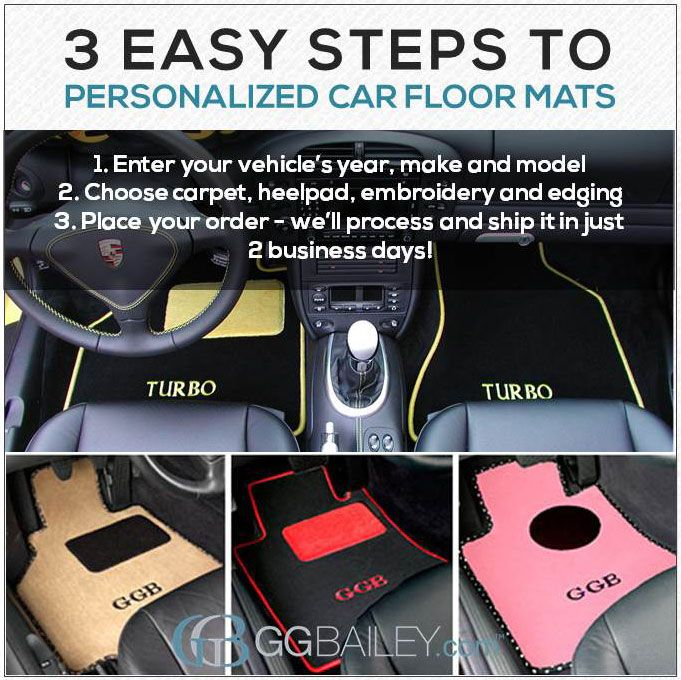 Design Your Car Floor Mats with GGBailey.com. Thousands of possible design combinations await! And we have #free shipping available right now.