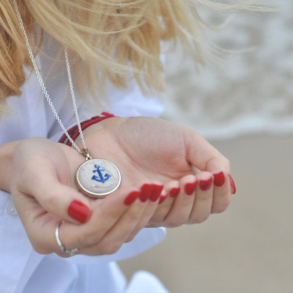 Anchor Necklace. Nautical Jewelry. Anchor Jewelry. Hand Embroidered. Ocean Jewelry. Nautical Girl Gift. Anchor Gift. Seaside Jewelry
