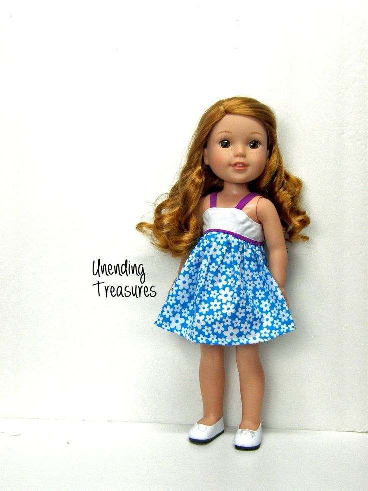 14 inch doll clothes AG doll clothes made to fit like wellie wishers doll clothes blue and white sundress by Unendingtreasures on Etsy