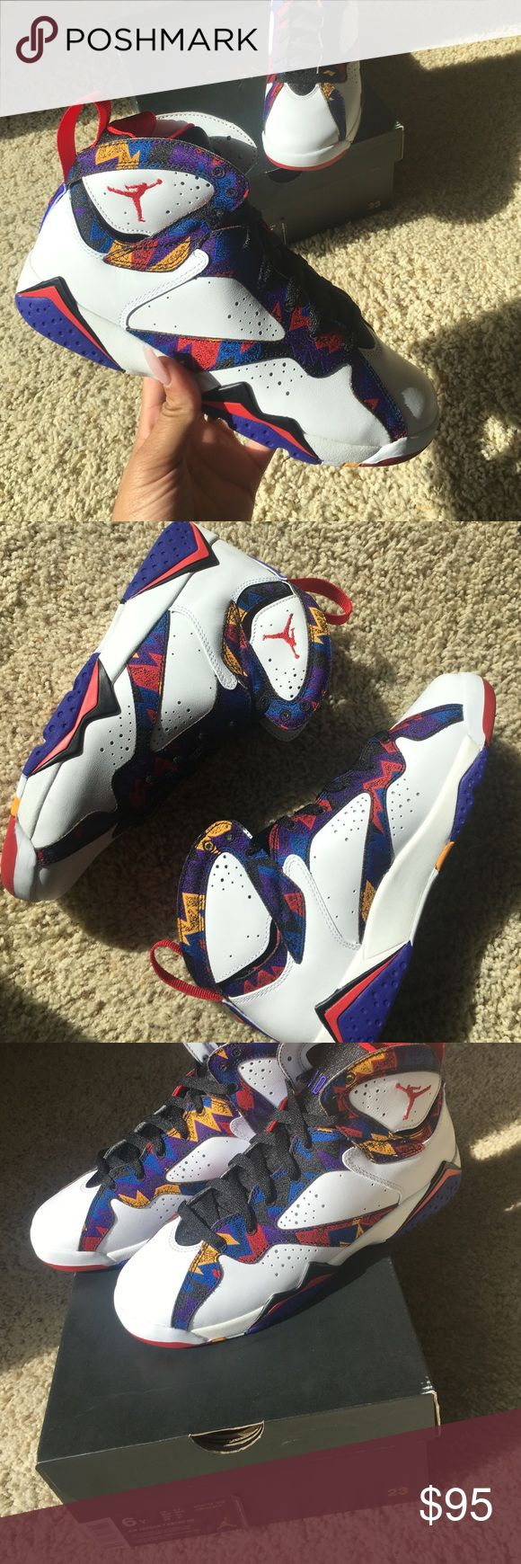 Air Jordan Retro 7's Jordan Retro 7's‼️ NEVER WORN. (Size 6 in GS or kids). White with accents of red, purple, black, blue and yellow. Jordan Shoes Athletic Shoes