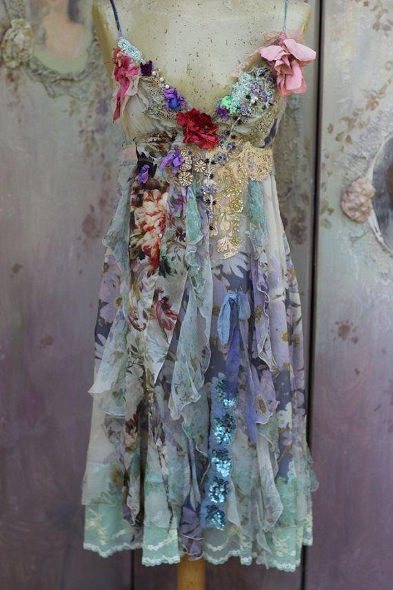 -Vestido - barroco inspirado, alta costura bohemio romántico, alterada, arte vestible