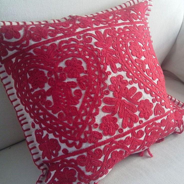 This antique cushion cover originates from the Kalotaszeg region of Transylvania Two heart design