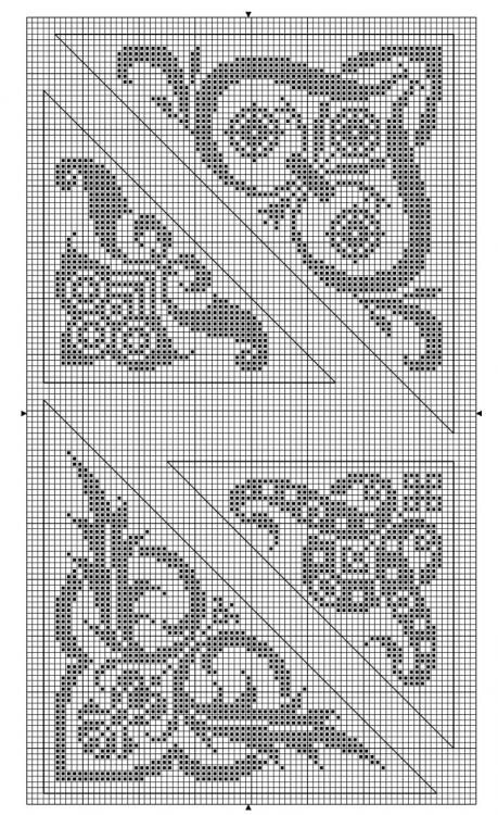 Corner 05 | Free chart for cross-stitch, filet crochet | gancedo.eu