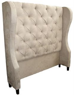 Wing back upholstered headboard, has a link on how to diy