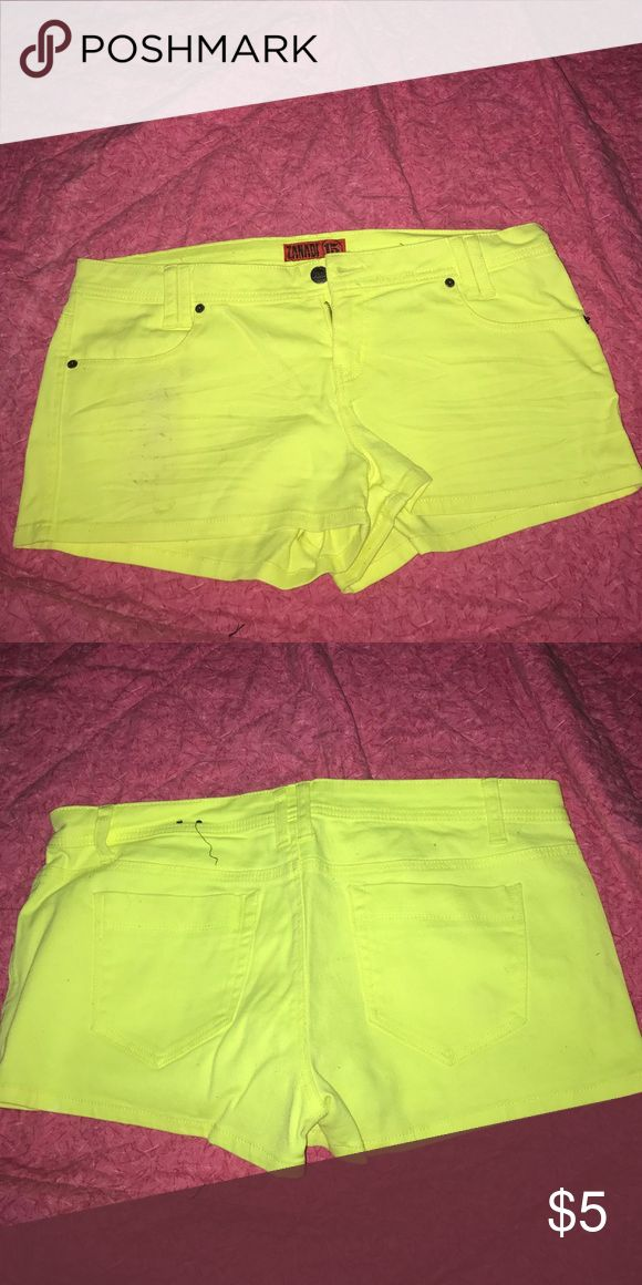 Neon yellow shorts Neon shorts, worn once, fairly good condition, weird spot on the front, will try to get out of interested gordmans Shorts Jean Shorts
