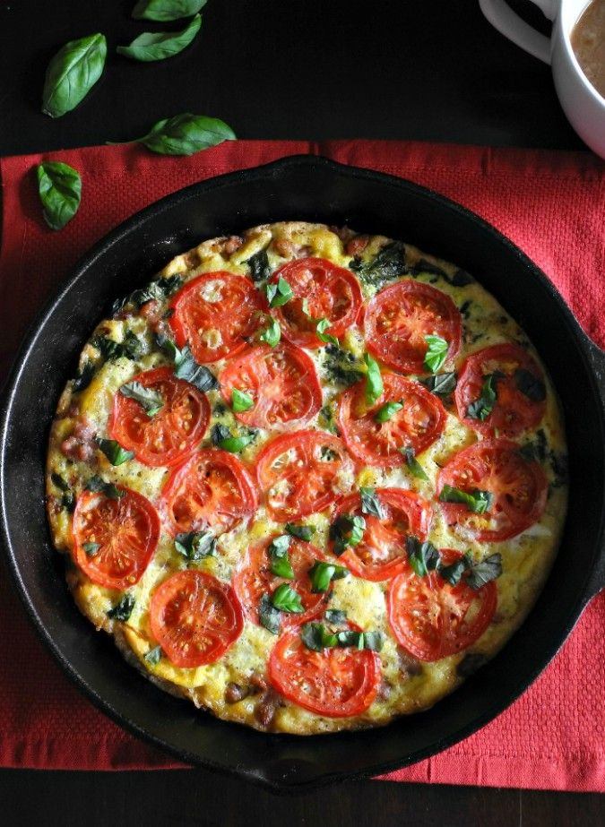 Sausage Tomato Basil Frittata Recipe {Paleo & Whole30} Savory paleo breakfast or brunch idea made all in one pan.  Great as a make ahead paleo breakfast.