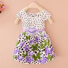 Meninas Do Bebê verão Vestir Crianças Polka Dots Impressão Borboleta Vestido de Festa Da Princesa para As Crianças Meninas Roupas Da Moda Boêmia(China (Mainland))