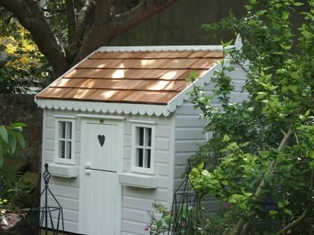 Cottage with cedar shingled roof - tree house, playhouses outdoor, garden playhouse, children's play house, outdoor wendy house, wooden playhouse