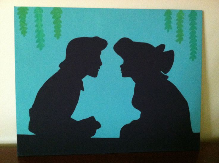 Ariel and Eric Disney Silhouette on Canvas Panel. $15.00, via Etsy.