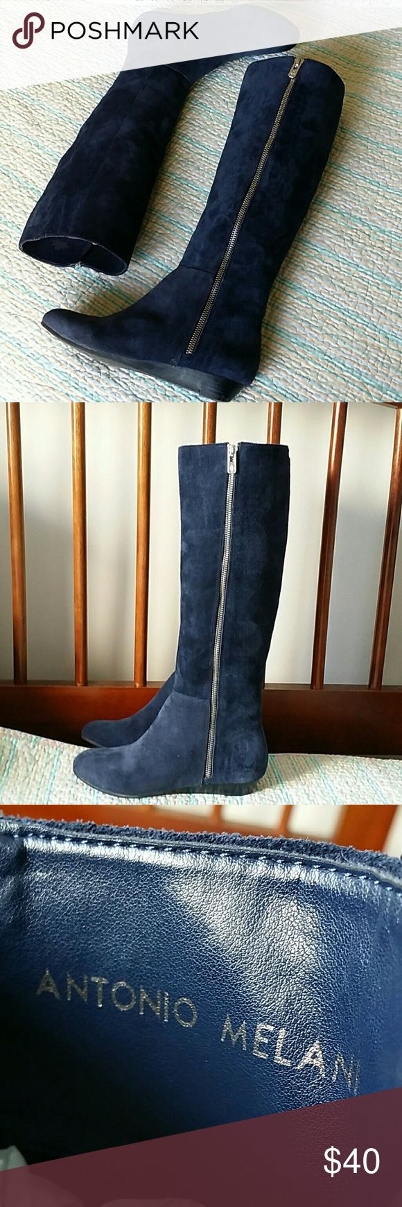 """Antonio Melani Blue Suede Leather Knee High Sz 6M Antonio Melani Blue Suede Leather Knee High Stretch Boots 1"""" Mini Wedge Size 6 - Boots measure 17"""" from heel to the top. These show a little wear from previous use but still in great shape! :) ANTONIO MELANI Shoes"""