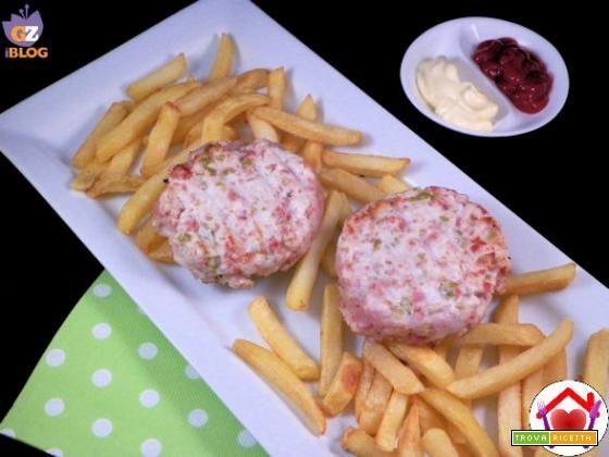 Hamburger di tacchino, mortadella e olive  #ricette #food #recipes