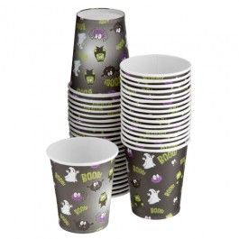 No Halloween party is complete without spooky tableware, get 40 paper party cups with fun design! Matching tableware available. Please recycle after use.