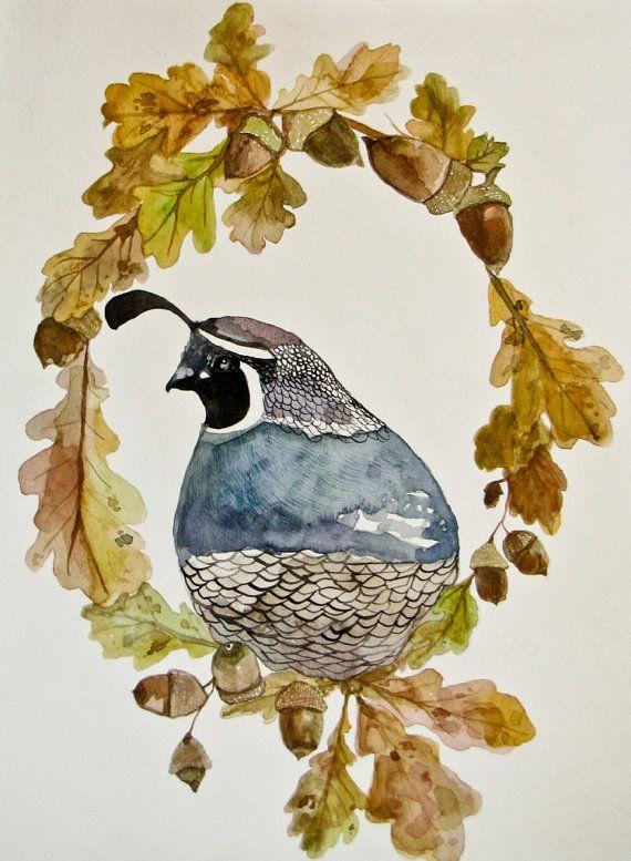 Rustic Autumn Bird Watercolor Print Autumn by CreatedByStorm, $45.00