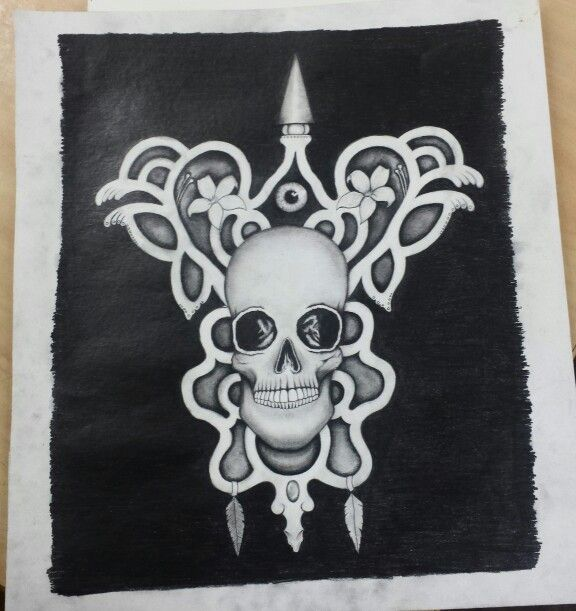 Pencil drawing of a skull by Madeleine Hoffman