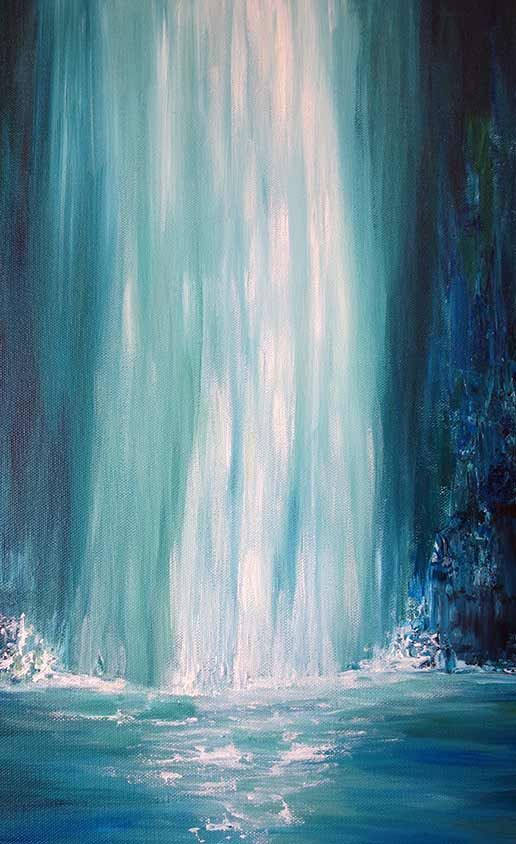 Blue Falls Waterfall Painting - Liz W Original Landscape Art. Featuring a large waterfall in colors of blue, brown, and white. lizwfineart.com #lizwfineart #art #artwork #paintings #contemporaryart #modernart #landscapepaintings
