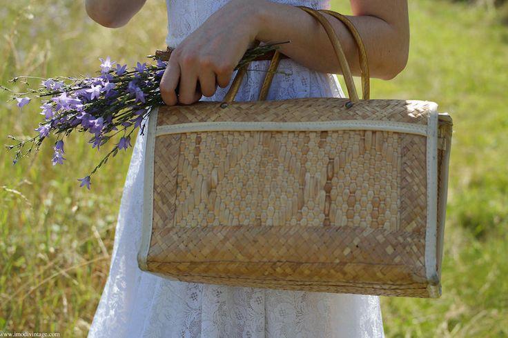 Panier rétro en paille - sac panier vintage de la boutique Imodivintage sur Etsy