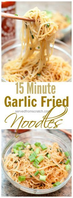 15 min garlic fried noodles!  Substitute coconut aminos for soy sauce & omit scallions