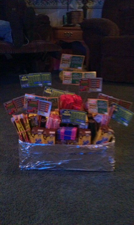 Crystal, something like this. It's kind of blurry. But maybe we could put the stuff in a batman basket or make one? Then get lotto tickets, candy cigarettes, temp tattoos, gold fish, soda, other candy/food/drink ideas in there.
