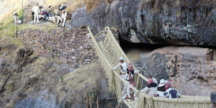 Every June, descendants of the Incas build a 100-foot bridge high in the Peruvian Andes made of nothing but grass. Cross if you dare.