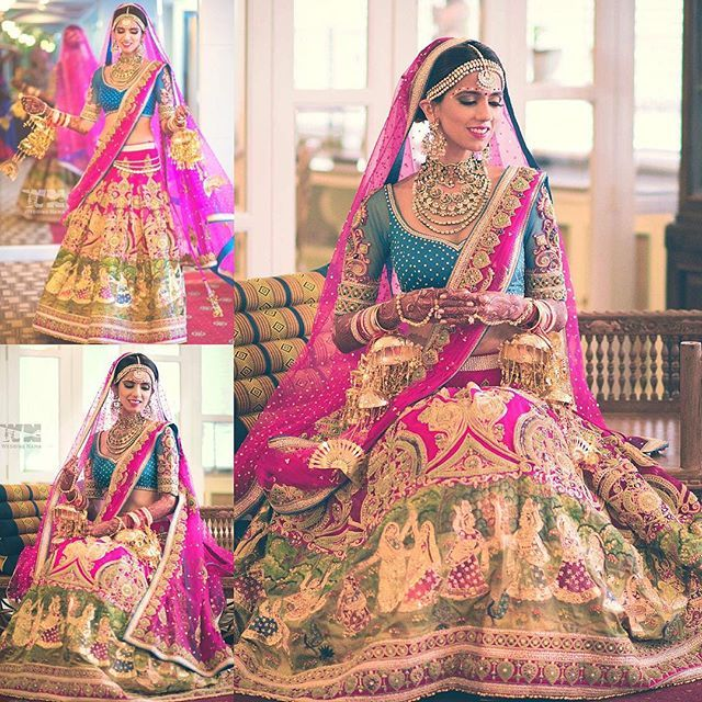 Grateful for the most #Gorgeous #bridal #lehenga ever by @neeta_lulla @houseofneetalulla .. Couldn't ask for a more #perfect outfit, #RadhaRani like in every way ,bright pink and #peacock blue, #vintage embroidery with pearls, #tanjore painting on the border, just too #beautiful #peacock #kundan #kaliras by @mrinalinichandra , makeup by @marianna_mukuchyan , hair by @ritikahairstylist . Pics by @weddingnama #dhruvishka #anantarariverside #bridal #nishkalulla