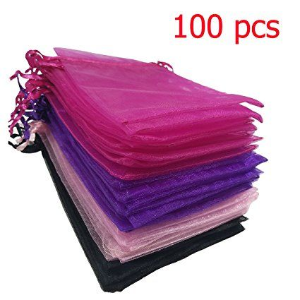 Misscrafts Organza Gift Bags with Drawstring 100pc for Favours 15*10cm Black/Red/Pink/Purple