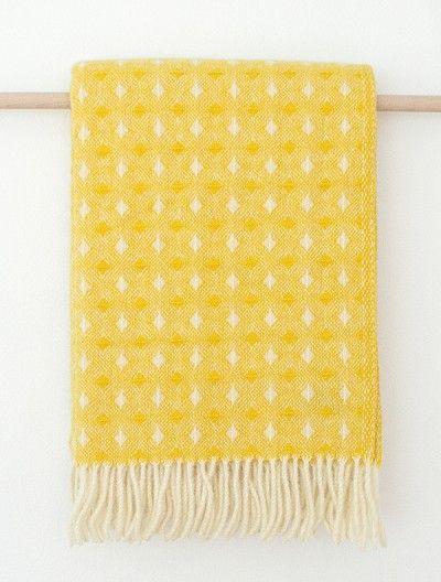 Ruter Sunny yellow - wool blanket