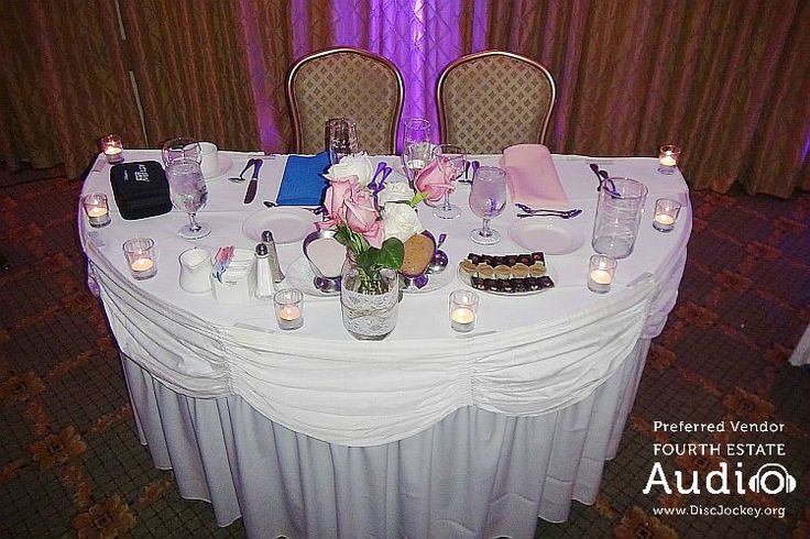 A beautifully decorating wedding sweetheart table at #MeridianBanquets. http://www.discjockey.org/meridian-banquet-and-conference-center/