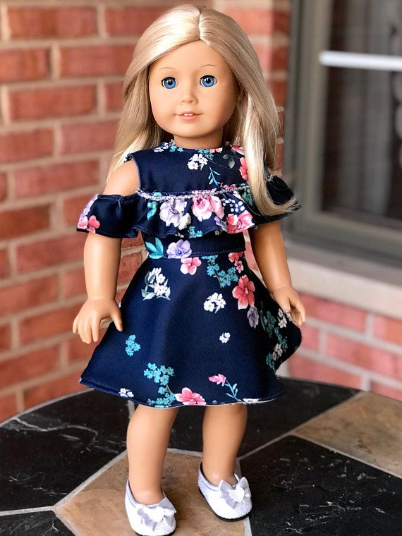 Fashion Handmade Cute Blue Clothes Dress Fit 18inch American Girl Doll Party