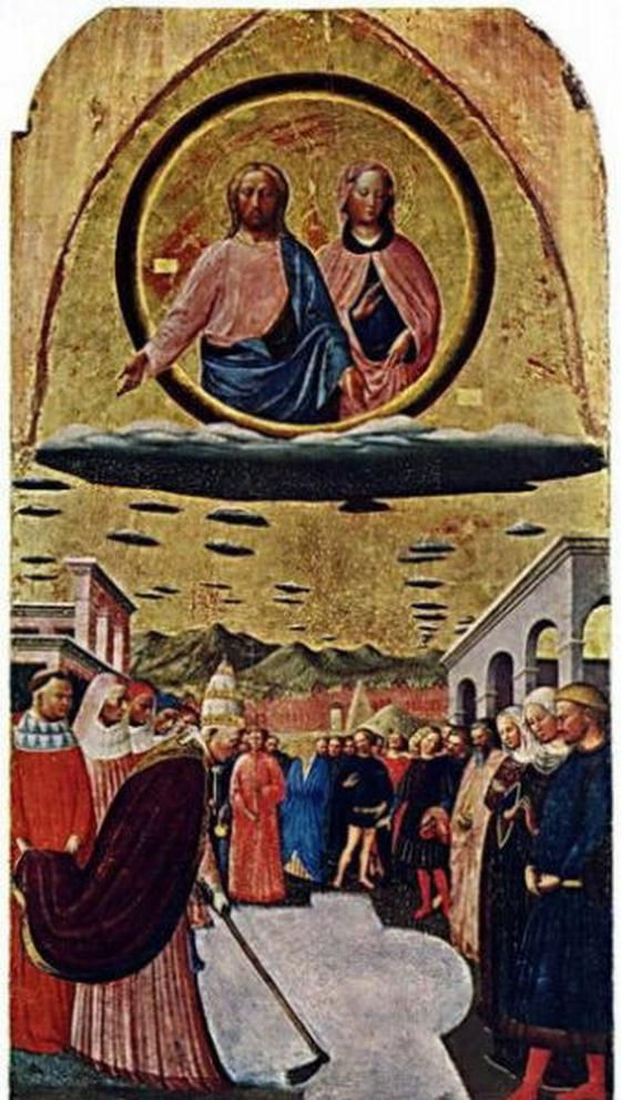 """The Miracle of the Snow"" by Masolino Da Panicale circa 1400 from Florence, Italy in the Church of Santa Maria Maggiore, depicting Jesus and Mary on very non vaporous ""lenticular clouds"" (flat and circular), or accompanied by an armada of flying saucers stretching beyond the horizon.:"