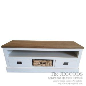 Rustic Buffet Wild White is stunning buffet with rattan basket. Buy white painted rustic furniture Jepara at wholesale factory price. Shabby Rustic Style!