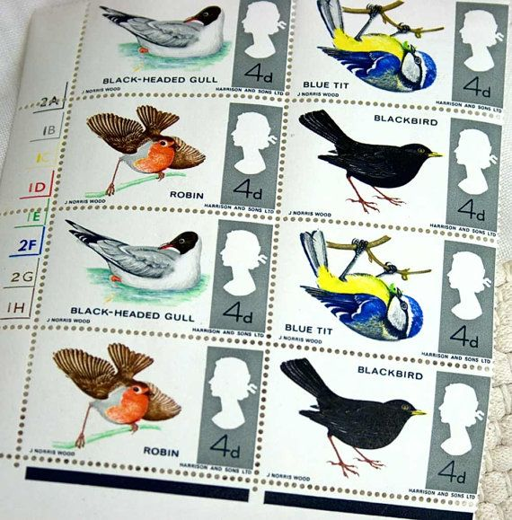 Vintage British Birds Postage Stamps1966 and by 3rdshelffromthetop, $10.00