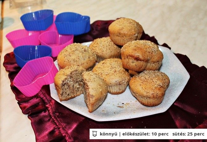 Diókrémmel töltött diós muffin