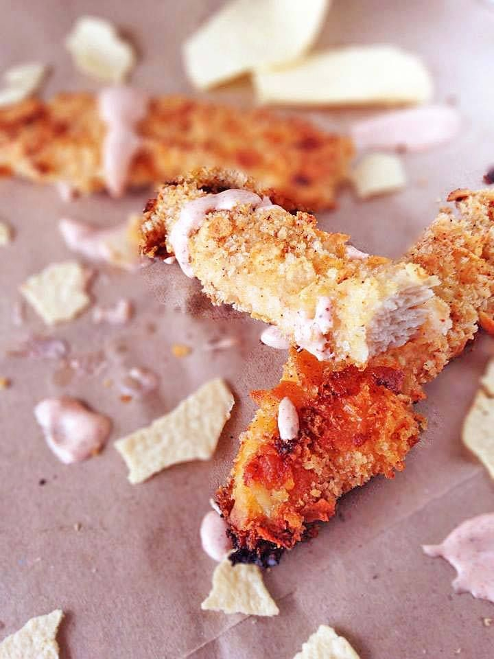 Baked Potato Chip Chicken Strips with Garlic Sriracha Sauce | Recipe