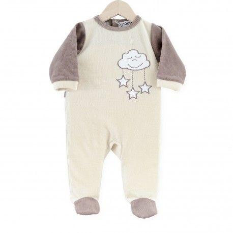 Pijama Nubes y Estrellitas #pijama #bebe #nubes #estrellitas #marron #beige #kinousses