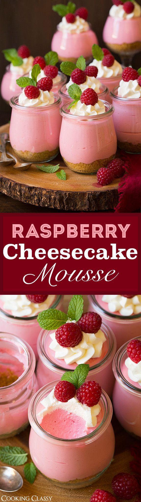 1 Mint, leaves. 15 oz Raspberries, fresh. 10 Raspberries, fresh. 1 Food coloring, red. 4 tbsp Granulated sugar. 2 1/4 cups Powdered sugar. 1 tsp Vanilla extract. 1 cup Graham cracker crumbs. 1/4 cup Butter, unsalted. 12 oz Cream cheese. 2 1/4 cups Heavy cream. 2 tsp Gelatin, powder. 3 tbsp Water.