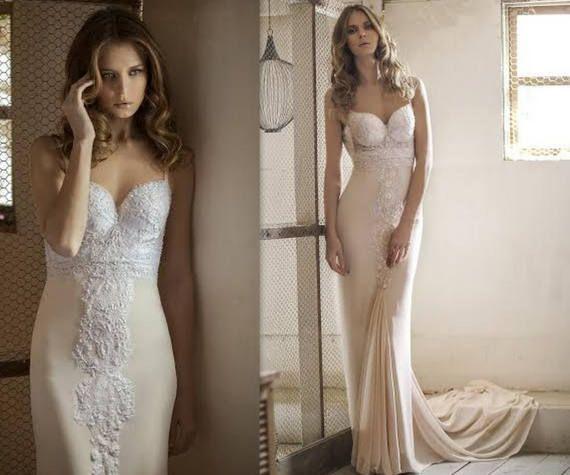 Elegant Wedding Dress Open Back Bridal Gown Champagne