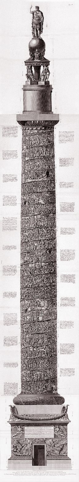 Giovanni Battista Piranesi Etching One of Piranesi's most impressive and accomplished etchings. A magnificent, almost three metre high, depiction of Trajan's column in Rome using six plates printed over five pages. Piranesi's spectacular vision of the monument illustrates the column's narrative spiral frieze, featuring sculpted relief scenes of the Roman emperor Trajan's epic battles against the Dacians. The etching includes the original bronze statue of Trajan, which was later replaced…