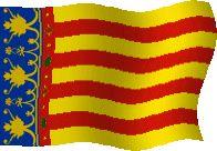 """Comunidad Valenciana. La bandera autonómica de la Comunidad Valenciana es la tradicional """"Señera"""" compuesta por cuatro barras rojas sobre fondo amarillo, coronadas sobre franja azul junto al asta. Esta bandera contiene franjas rojas sobre fondo amarillo porque este territorio perteneció a la Corona de Aragón.."""