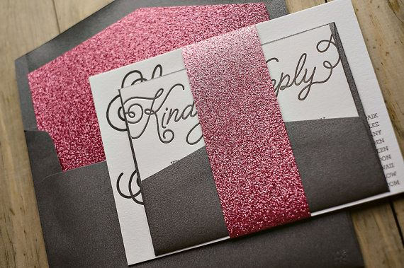 Dark Grey and Pink Glitter Whimsical Calligraphy Letterpress Wedding Invitation, metallic, glittery wedding invitation, fancy wedding invitations