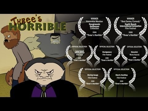 "Happy Halloween!!    Award winning short ""Three's Horrible"" with Dracula, Wolf Man & Frankenstein's monster"