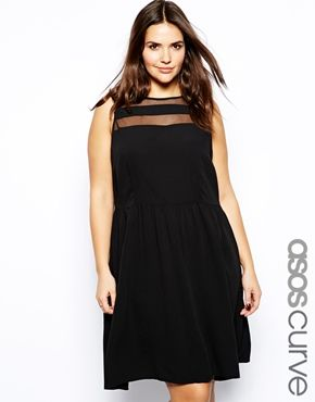 Image 1 of ASOS CURVE Skater Dress With Panel Detail
