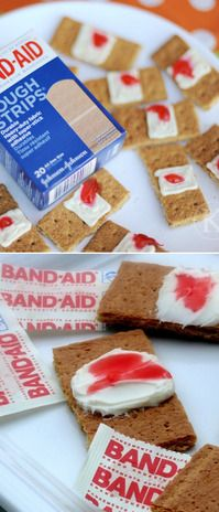 These bloodied bandaid strip hors d'oeuvres.