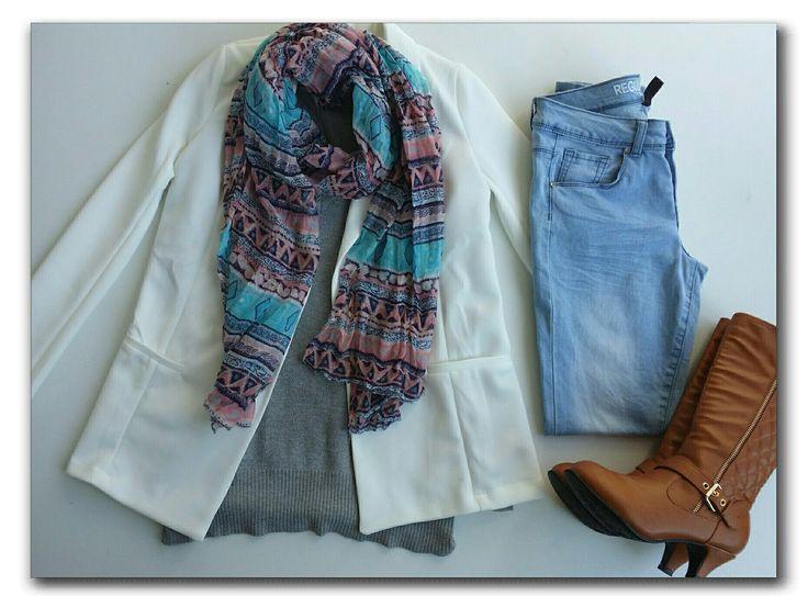 White blazer, grey sweater, aztec scarf, jeans, tan boots   #ootd #fashion #whatiwore #fashionidea #winterfashion #workwear #officewear #smartcasual #dailyoutfitinspiration